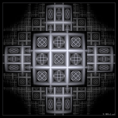 see 'Fractal noughts and crosses' at deviantART